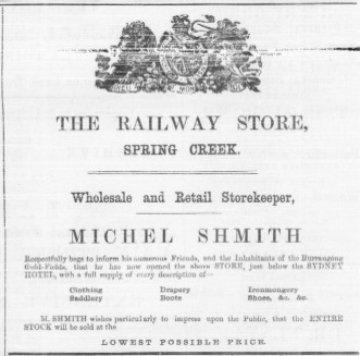 1861 advertisement for Michel Shmith's store.